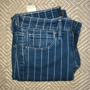 Abercrombie & Fitch Pinstripe Cropped Jeans